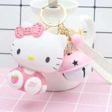 Cute Cartoon Pvc Cat Hello Kitty Doll Keychain Leather Rope Key Holder Metal Bell Key Chain Keyring Charm Bag Auto Pendant Gifts(China)