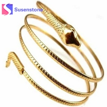 Buy Women Metal Punk Bangle Silver Gold Snake Coiled Spiral Upper Arm Cuff Bangles Bracelets Womens Charm Jewelry Drop for $1.00 in AliExpress store