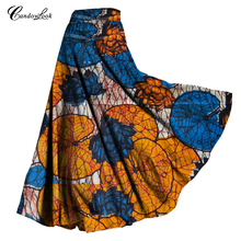 Long Maxi Skirt For Women New Arrival Ladies Multicolor Vintage Cotton Wax African Skirt With Pockets Tied Waist A Line Skirts(China)