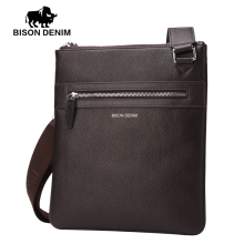 BISON DENIM Brand 100% top cowhide genuine leather Male bags slim shoulder bag Business Travel Ipad Crossbody Bag for men