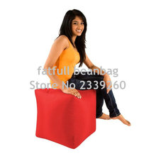 COVER ONLY NO FILLER - red cube bean bag footstool , polyester waterproof beanbag seat