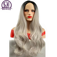 MSIWIGS Long Wavy Ombre Grey Wigs 26 Inch Brazilian American Two Tones Synthetic Wig for Women High Temperature Fiber