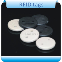 Buy Free shipping100pcs 125KHZ two hole T5557 RFID tags clothes laundry high temperature labels roll for $84.55 in AliExpress store