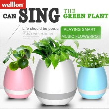 Welllon New Music Flower Pot with LED Light Bluetooth Speaker 2017 Trending Product Green Plant Smart Touch Sensitive Flower