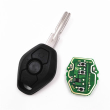 HKCYSEA 3 Button 433MHZ/315MHZ Remote Key For BMW X3 X5 E38 E39 E46 4 Track EWS System With Uncut HU58 Blade+Logo