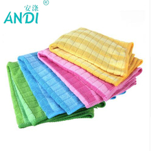 4 Pieces Color Bar Plaid Microfiber Glass Cleaning Cloths Good Absorption Souring Pad Durable Towels Kitchen Cleaner 30x40cm(China)