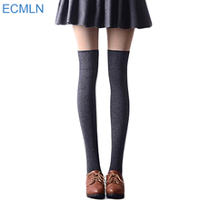 Sexy Fashion Women Girl Thigh High Stockings Knee High Socks,5 Colors Cute Long Cotton Warm Over The Knee Socks 2017 Hot Sale(China)
