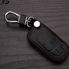 3 Button Remote Control Leather Key Case For Fiat Jeep Renegade Leather Smart Key Cover Car Key Bag Dust Collector(China)