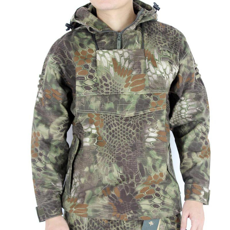 Mens Woodland Python Snake Camouflage Outdoor Airsoft Jacket Hooded Windstoper Multicam Tactical Camo Coats Beekeeping Clothes <br>