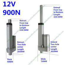 Waterproof IP65 12V 100mm 4inch adjustable stroke 900N 198LBS load 6mm/s speed mini industry heavy duty linear actuator LA10(China)
