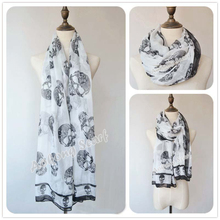 Hot animal scarf fashion black skull scarf shawl free shipping