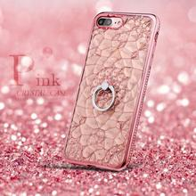Coque For iPhone 7 Case Pink Glitter 3D Flower Plating Case Soft Plastic TPU Rhinestone Ring Cover For iPhone 6s Crystal Case