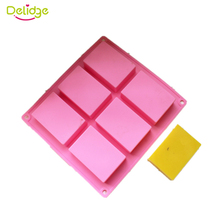 Delidge 1 pc 6 Cavities 3D Handmade Rectangle Square Silicone Soap Molds Chocolate Cookies Mould Cake Decorating Fondant Molds