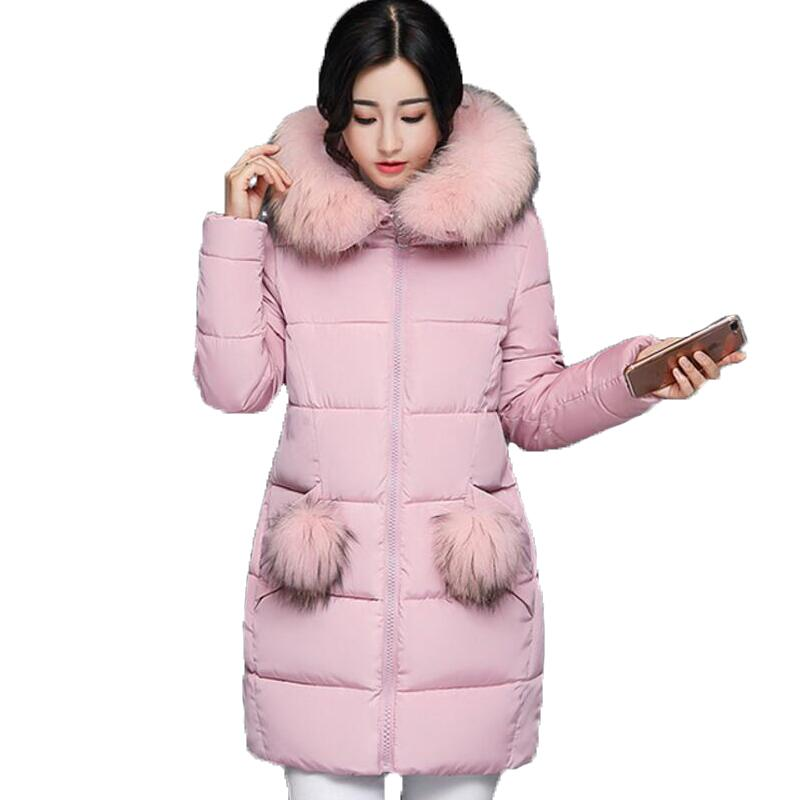 2017 New Autumn Thick Warm Winter Jacket Women Slim Fashion Ladies Parkas Hooded with Big Fur Collar Plus Size M-3XL Cotton CoatÎäåæäà è àêñåññóàðû<br><br>