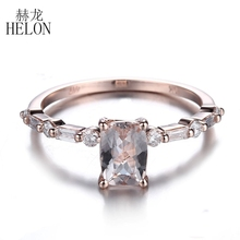 HELON Ladies 0.71ct 7x5mm Cushion Genuine Morganite & Natural Diamonds Jewelry Unique Engagement Wedding Ring Real 14K Rose Gold