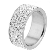 MCSAYS Fashion Jewelry 5 Row Clear Crystal Stainless Steel Engagement Rings Iced Out Bling CZ Ring YL