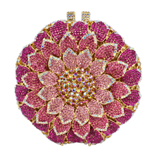 LaiSC Pink Circular Flower shape Evening Bag with Metal Diamond Ladies Evening Clutch Bag Party Crystal Purse Prom Pouch SC202-B