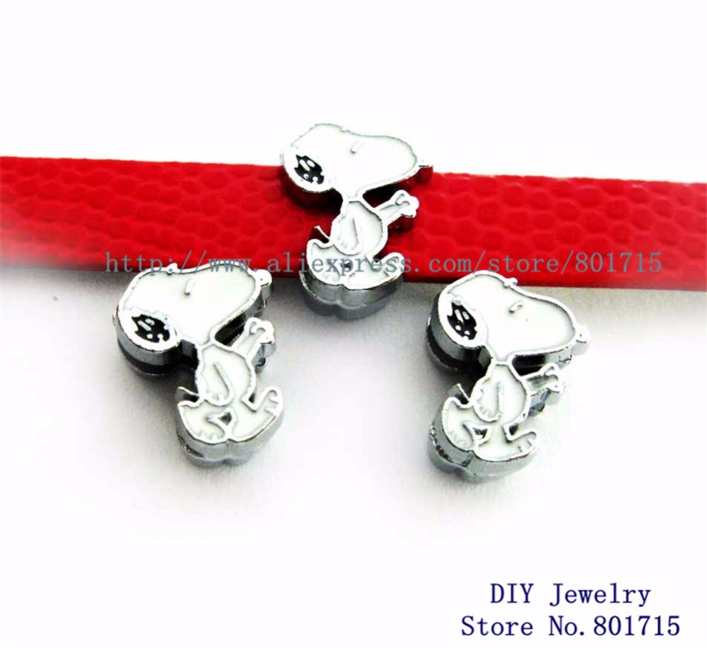 10pcs 8mm slide charms cartoon charactors dog wholesales DIY charms Internal Dia.8mm fit 8mm band wholesales freeship SL0241