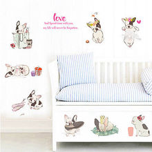 Cute Small Dog Wall Decals Love Puppies Baby Bedroom Stickers  Home Decor Mural Kids Room Decoration