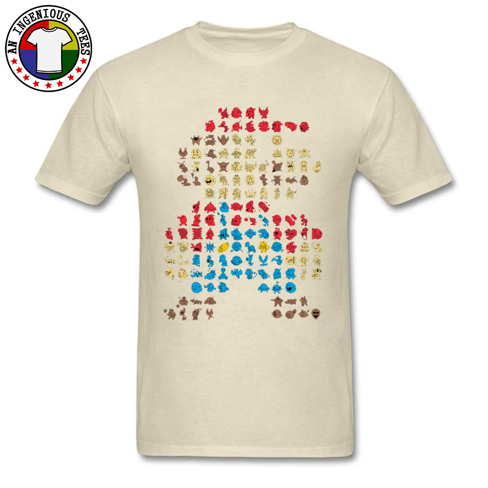 Men's T-Shirt Super-Mario0604 Classic Tops Shirts Cotton O Neck Short Sleeve Normal Tops Shirt Thanksgiving Day Super-Mario0604 beige