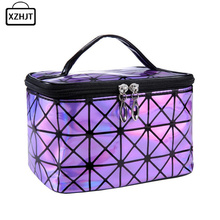 Fashion Women Cosmetic Bag Functional PU Leather Travel Make Up Necessaries Organizer Zipper Makeup Case Pouch Toiletry Kit Bag(China)