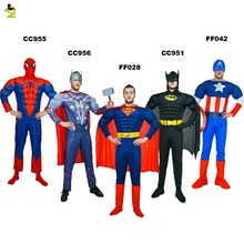 High Quality Adult MAN SuperHero Spiderman Batman Superman American Captain The Avengers Thor Costume for Halloween Party Show(China)