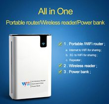 All in one Wifi router power bank 7800mah battery RJ45 ports wireless storge App wireless card reader for mobile tablets PC