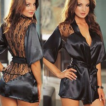 Buy Sexy Lingerie Women Nightshirt Hot Erotic 2017 Silk Lace Black Kimono erotic lingerie Sleepwear Robe Night Gown Sexy lingerie