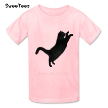 Black Cat Animal T Shirt Baby Pure Cotton Short Sleeve Round Neck Tshirt Children Clothes 2017 Discount T-shirt For Boys Girls