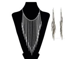 New Collares Jewelry European Style Vintage Trendy Fashion Necklace Rivet Long Tassels Punk Accessories Jewerly Set Women