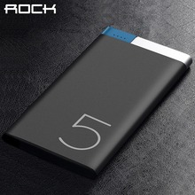 ROCK Power Bank 5000mah, Portable Polymer 5000mAh Slim Alloy Powerbank bateria externa Power bank battery