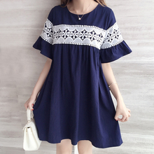 2017 5XL 4XL 3XL Summer Women Dresses Straight Loose Cute Butterfly Sleeve Hollow Out Patchwork Button Navy Blue Plus size Dress