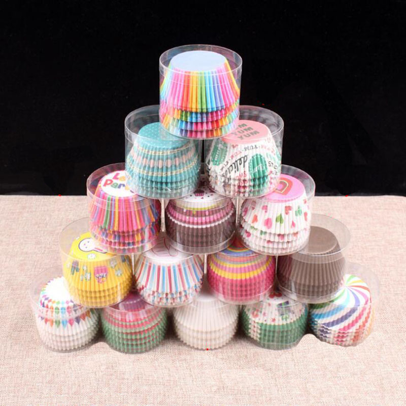 100 Pcs Professional Baking Cake Paper Cups Oil Resistant High Temperature About Translucent Paper Cake Cup