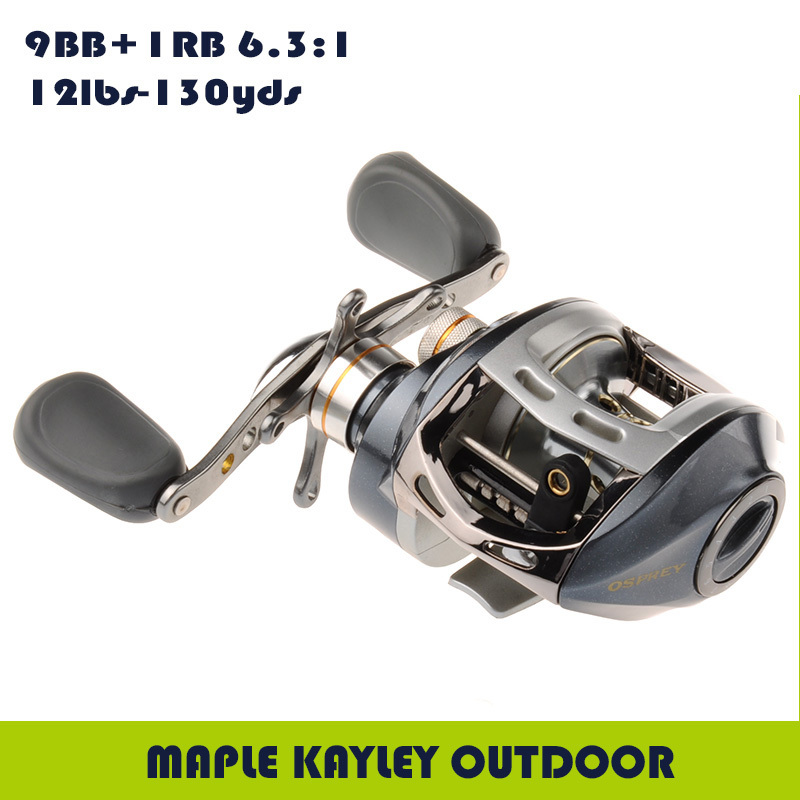 10BB 6.3:1 Low Profile Baitcasting Fishing Reel Infinite Anti-Reverse Baitcast Reels Right Handed Baitcaster Reel<br>