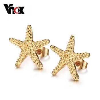 Vnox Elegante chapado en oro starfish stud pendientes precioso océano estrella de mar pendientes para las mujeres