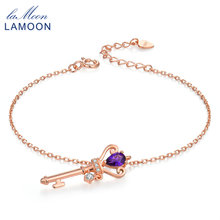 LAMOON Crown Key to Heart Natural Amethyst S925 Sterling Silver Jewelry Rose Gold Plated Charm Bracelets for Women Bangle HI024(China)