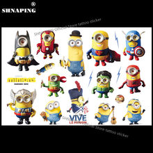 SHNAPIGN minions Children Cartoon Temporary Tattoos Sticker Fashion Summer Style Elsa Waterproof Girls Kids Boys Hot Sell Small