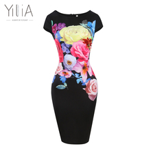 2017 Patterns Print Elegant Women Plus Size Work Pencil Office Bodycon Dress Summer Knee Length Flower Floral Casual Party Black