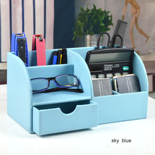 Home Office Storage Box Wooden PU Leather Makeup Organizer 6 Slot Remote Controller Desk Stationery Pen Pencil Holder Container