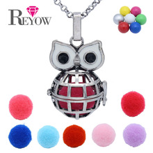 Big Eyes Globe Owl Cage Locket Chime Ball Angel Caller Pendant Aromatherapy Essential Oil Fragrance Diffuser Necklace Jewelry
