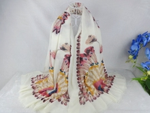 Peacock Feathers Butterfly Print Rayon Shawls Tassel Scarf Women Muslim hijab,bandana,poncho,Shawls and scarves Ladies Scarf