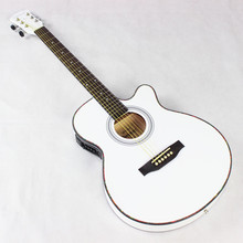 Guitar Acoustic Electric Steel-String Thin Body Flattop Balladry Folk Pop 40 Inch Guitarra 6 String White Light Cutaway Electro(China)