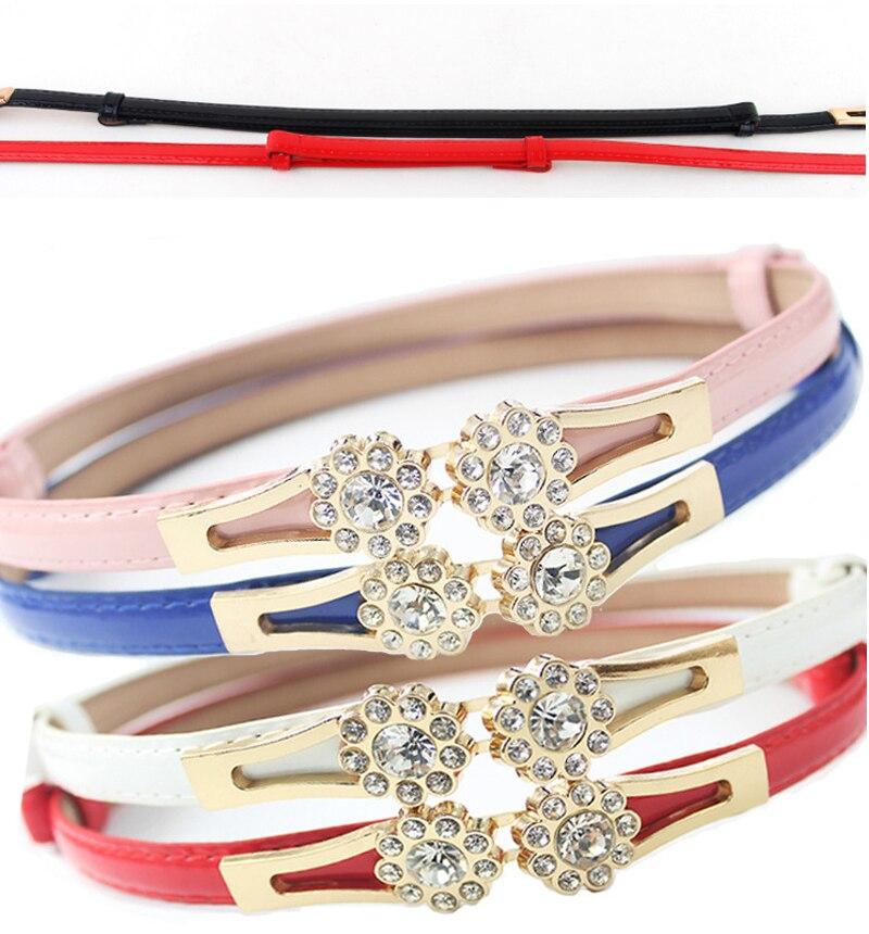 buckle adjustable waist belt ladys skirt. double ring fine waist belt Korean version of the new Korean womens dress