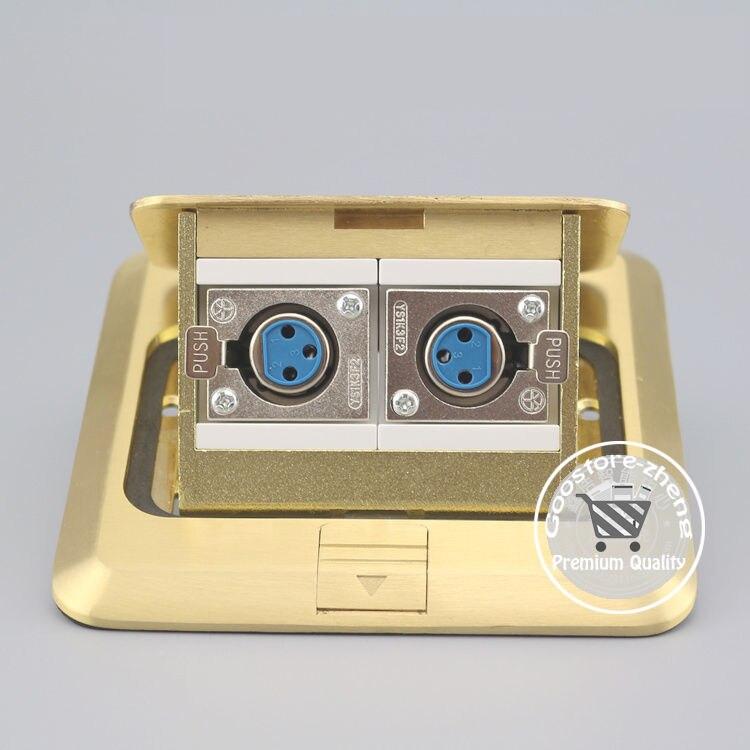 Bronze Pop-up Microphone XLR Female Socket Floor Panel Ground Outlet Receptacle<br>