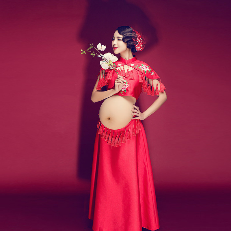 Red Embroidered Dress Pregnancy Photo Shoot Beach Dress Maternity Long Dress Pregnant Photography Props Fancy Clothing<br>