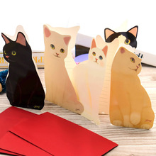 High Quality!1PC Cute Cat Folding Greeting Card Birthday Christmas Cards Envelope Writing Paper Stationery Gifts