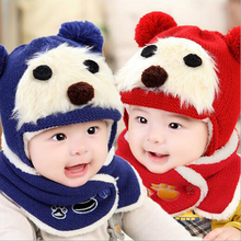 Baby Girls Boys Hat and Scarf Set Cute Bear Crochet Knitted Caps Wrap Newborn Thick Velvet Kids Winter Warm Ear Hats Wool Hat