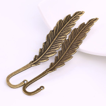 Antique Brass Metal Feather Bookmarks Charms for Jewelry Making DIY Zinc Alloy Big Feather Bookmarks 4pcs C9000(China)