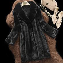 womens genuine Water mink coat the whole skin fur coat long outerwear jacket suit collar lapel fashion clothing d17