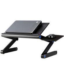 Highly recommended !Portable Foldable Adjustable Laptop Desk Computer Table Stand Tray For Sofa Bed Black Silver Rose Red(China)